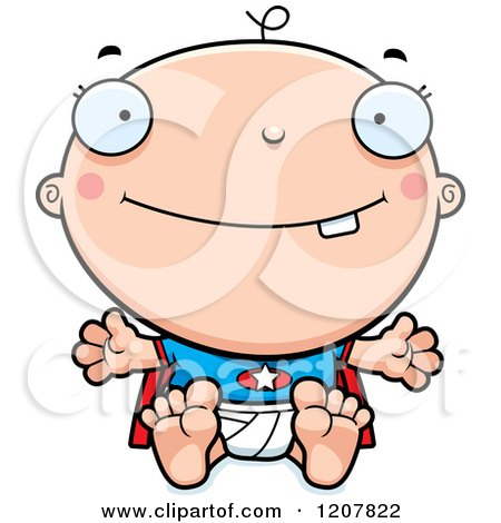 Cartoon of a Happy Super Infant Baby Boy - Royalty Free Vector Clipart by Cory Thoman