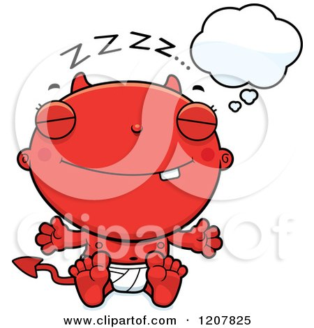 Cartoon of a Dreaming Devil Infant Baby - Royalty Free Vector Clipart by Cory Thoman