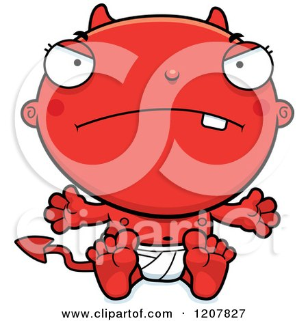 Cartoon of a Mad Devil Infant Baby - Royalty Free Vector Clipart by Cory Thoman