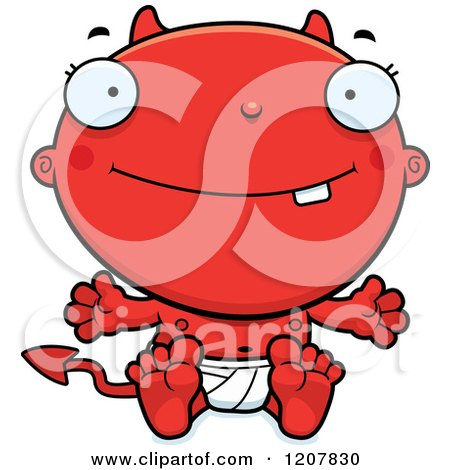 Cartoon of a Happy Devil Infant Baby - Royalty Free Vector Clipart by Cory Thoman