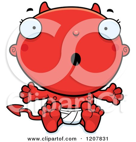 Cartoon of a Surprised Devil Infant Baby - Royalty Free Vector Clipart by Cory Thoman