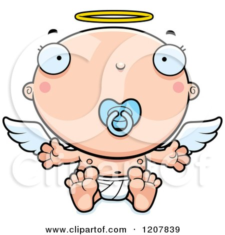 Cartoon of a Baby Infant Angel with a Pacifier - Royalty Free Vector Clipart by Cory Thoman