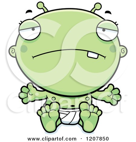 Cartoon of a Depressed Alien Infant Baby - Royalty Free Vector Clipart by Cory Thoman