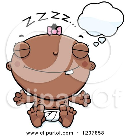 Cartoon of a Dreaming Baby Infant Black Girl - Royalty Free Vector Clipart by Cory Thoman