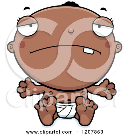 Cartoon of a Depressed Black Baby Boy - Royalty Free Vector Clipart by Cory Thoman