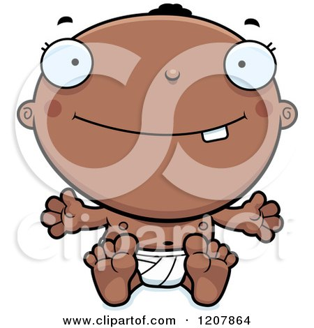 Cartoon of a Smiling Happy Black Baby Boy - Royalty Free Vector Clipart by Cory Thoman