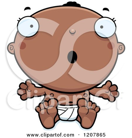 Cartoon of a Surprised Black Baby Boy - Royalty Free Vector Clipart by Cory Thoman