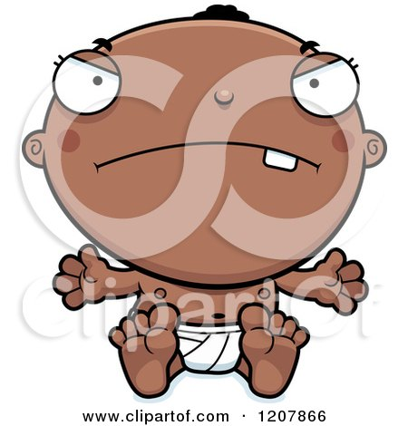 Cartoon of a Mad Black Baby Boy - Royalty Free Vector Clipart by Cory Thoman