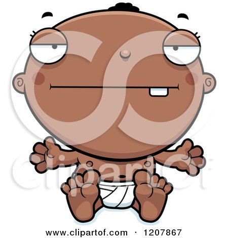 Cartoon of a Bored Black Baby Boy - Royalty Free Vector Clipart by Cory Thoman