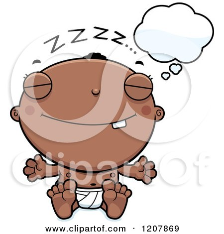 Cartoon Clipart Of A Black And White Little Girl Dreaming