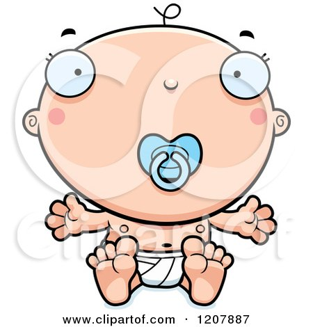 Cartoon of a Baby Boy Infant with a Pacifier - Royalty Free Vector Clipart by Cory Thoman