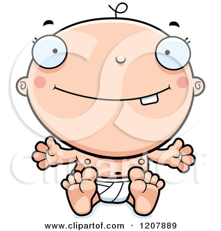 Cartoon of a Sitting Happy Baby Boy Infant - Royalty Free Vector Clipart by Cory Thoman
