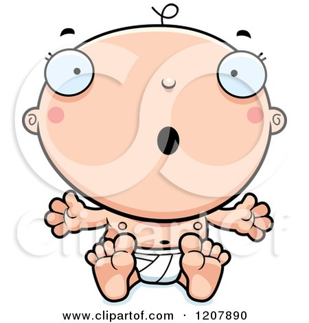 Cartoon of a Surprised Baby Boy Infant - Royalty Free Vector Clipart by Cory Thoman