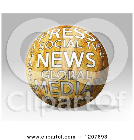 Clipart of a 3d News Media and Press Globe on Gray - Royalty Free CGI Illustration by MacX
