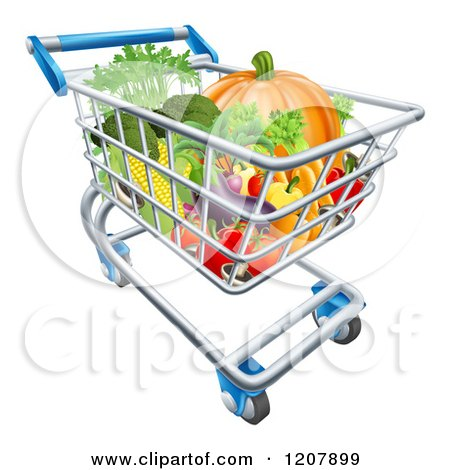 Cartoon of a Grocery Store Shopping Cart Full of Vegetables - Royalty Free Vector Clipart by AtStockIllustration