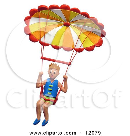 Clay Sculpture Clipart Hang Glider Descending In His Parachute - Royalty Free 3d Illustration  by Amy Vangsgard