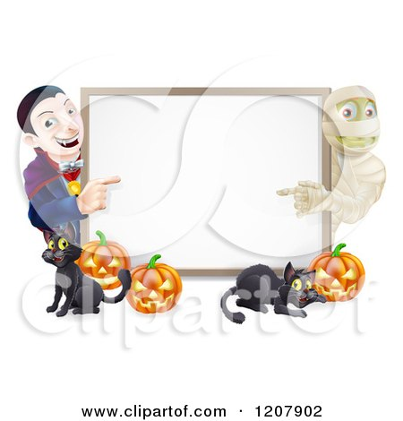 Cartoon of a Happy Vampire Mummy Pumpkins and Black Cat Around a Blank Sign - Royalty Free Vector Clipart by AtStockIllustration