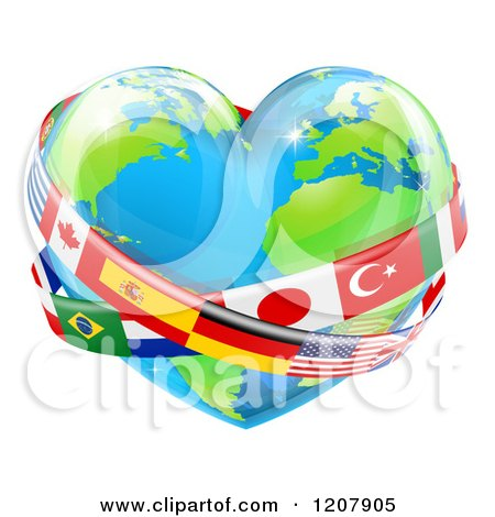 Cartoon of a Reflective Heart Earth Globe with National Flag Sashes - Royalty Free Vector Clipart by AtStockIllustration