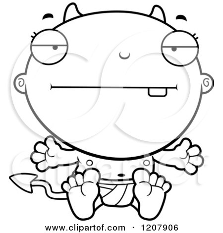 Cartoon of a Black And White Bored Devil Infant Baby - Royalty Free Vector Clipart by Cory Thoman
