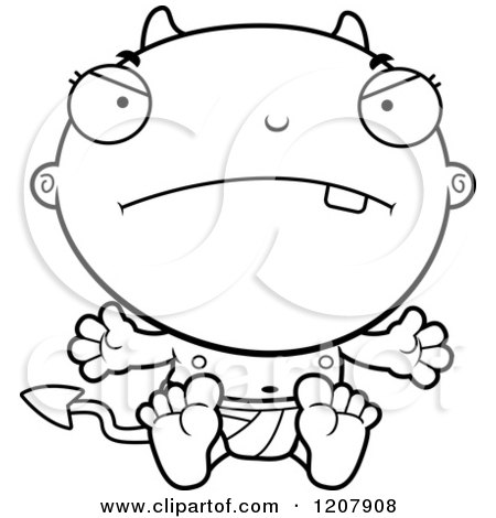 Cartoon of a Black And White Mad Devil Infant Baby - Royalty Free Vector Clipart by Cory Thoman