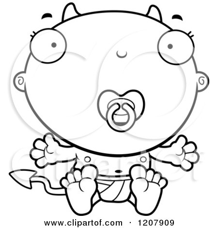 Cartoon of a Black And White Devil Infant Baby with a Pacifier - Royalty Free Vector Clipart by Cory Thoman