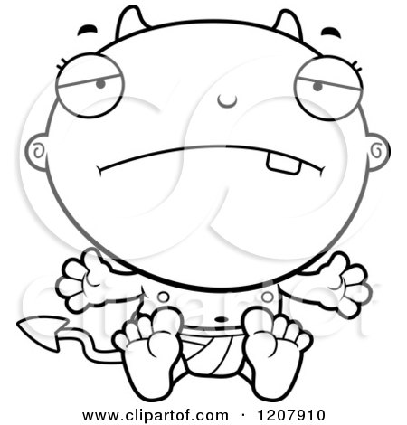 Cartoon of a Black And White Depressed Devil Infant Baby - Royalty Free Vector Clipart by Cory Thoman