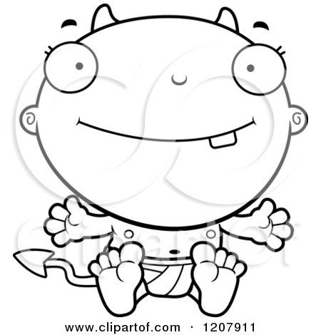 Cartoon of a Black And White Happy Devil Infant Baby - Royalty Free Vector Clipart by Cory Thoman