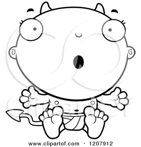 Cartoon of a Black And White Surprised Devil Infant Baby - Royalty Free Vector Clipart by Cory Thoman
