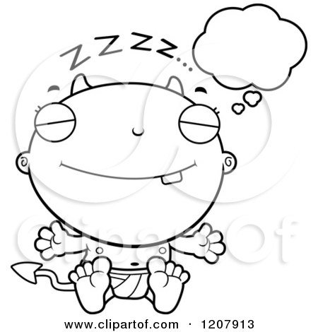 Cartoon of a Black And White Dreaming Devil Infant Baby - Royalty Free Vector Clipart by Cory Thoman