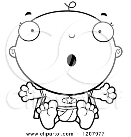 Cartoon of a Black And White Surprised Super Infant Baby Boy - Royalty Free Vector Clipart by Cory Thoman