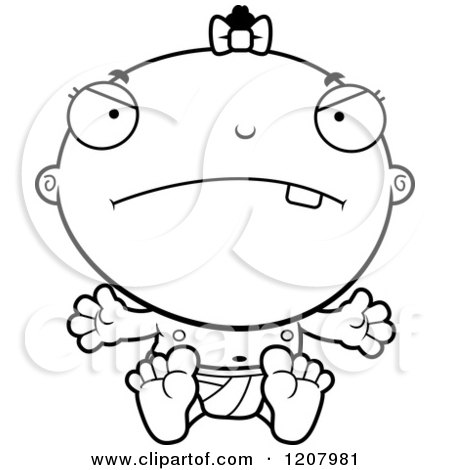 Cartoon of a Black And White Depressed Baby Infant Black Girl - Royalty Free Vector Clipart by Cory Thoman