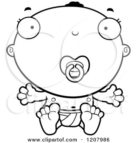 Cartoon of a Black And White Sitting Black Baby Boy with a Pacifier - Royalty Free Vector Clipart by Cory Thoman