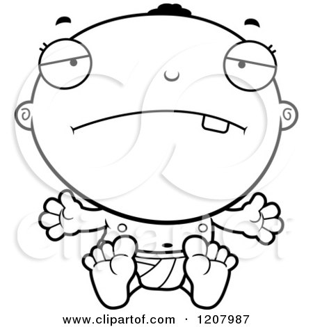Cartoon of a Black And White Depressed Black Baby Boy - Royalty Free Vector Clipart by Cory Thoman