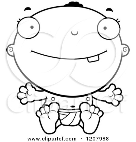 Cartoon of a Black And White Smiling Happy Black Baby Boy - Royalty Free Vector Clipart by Cory Thoman