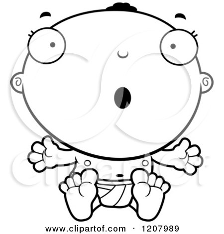 Cartoon of a Black And White Surprised Black Baby Boy - Royalty Free Vector Clipart by Cory Thoman