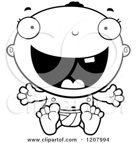 Cartoon of a Black And White Happy Black Baby Boy - Royalty Free Vector Clipart by Cory Thoman