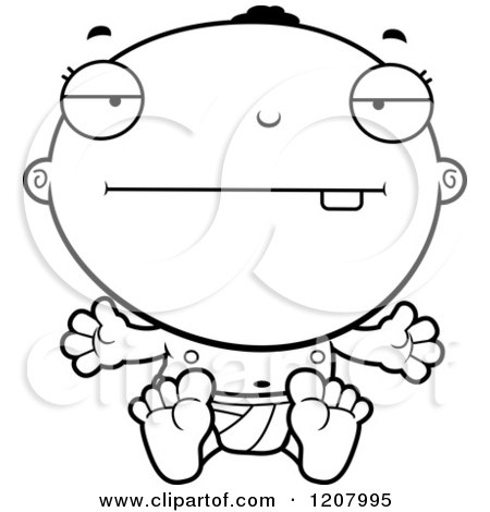 Cartoon of a Black And White Bored Black Baby Boy - Royalty Free Vector Clipart by Cory Thoman