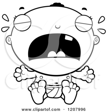 Cartoon of a Black And White Crying Black Baby Boy - Royalty Free Vector Clipart by Cory Thoman