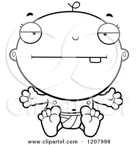 Cartoon of a Black And White Bored Baby Boy Infant - Royalty Free Vector Clipart by Cory Thoman
