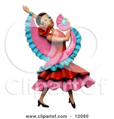 Clay Sculpture Clipart Gorgeous Female Flamenco Dancer Royalty Free 3d Illustration