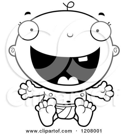 Cartoon of a Black And White Happy Baby Boy Infant - Royalty Free Vector Clipart by Cory Thoman