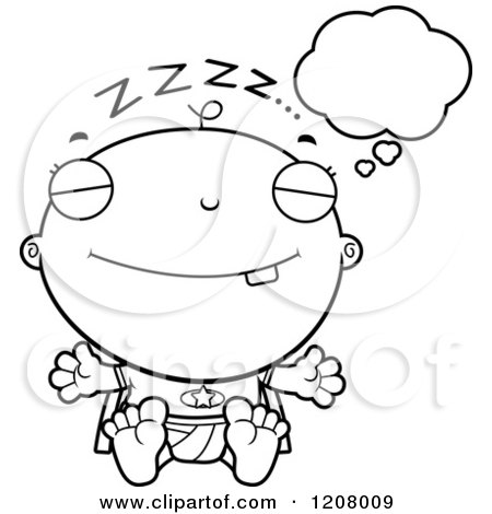Cartoon of a Black And White Dreaming Super Infant Baby Boy - Royalty Free Vector Clipart by Cory Thoman