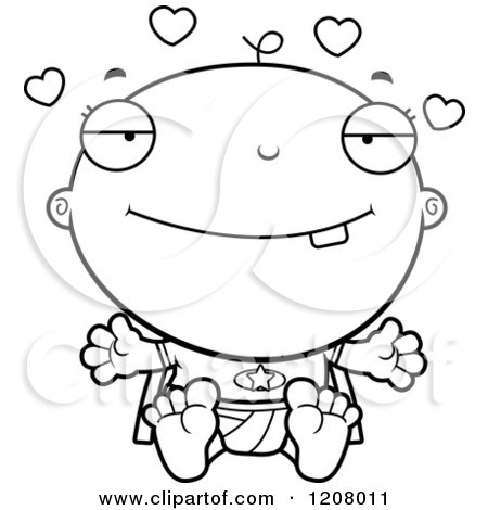 Cartoon of a Black And White Loving Super Infant Baby Boy - Royalty Free Vector Clipart by Cory Thoman