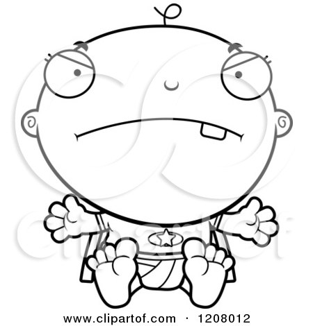 Cartoon of a Black And White Mad Super Infant Baby Boy - Royalty Free Vector Clipart by Cory Thoman
