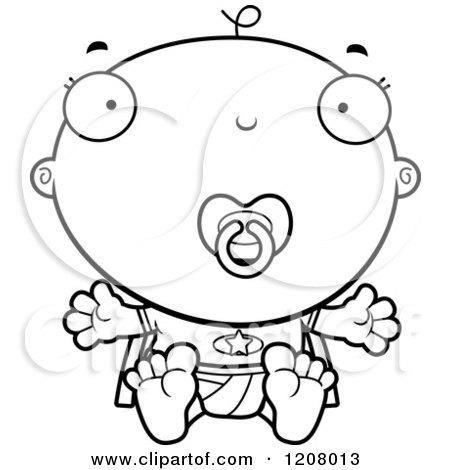 Cartoon of a Black And White Super Infant Baby Boy with a Pacifier - Royalty Free Vector Clipart by Cory Thoman