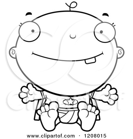 Cartoon of a Black And White Happy Super Infant Baby Boy - Royalty Free Vector Clipart by Cory Thoman