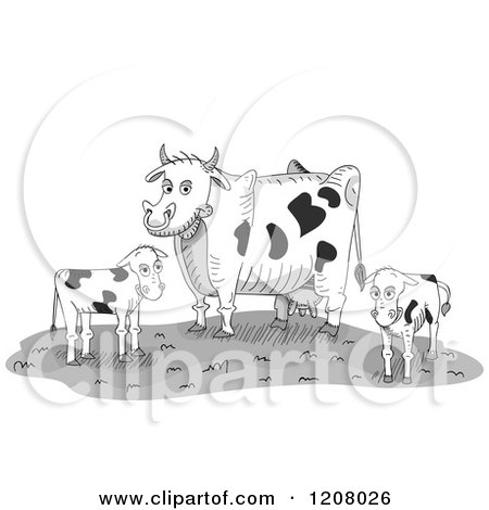 Cartoon Of A Dairy Cow And Two Calves On A Farm Royalty