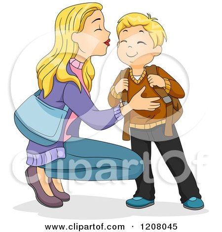 Cartoon of a Blond Caucasian Mother Kissing Her Son and Sending Him off to School - Royalty Free Vector Clipart by BNP Design Studio