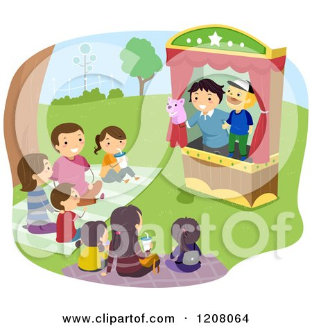 Cartoon of a Happy Family Enjoying a Puppet Show - Royalty Free Vector Clipart by BNP Design Studio