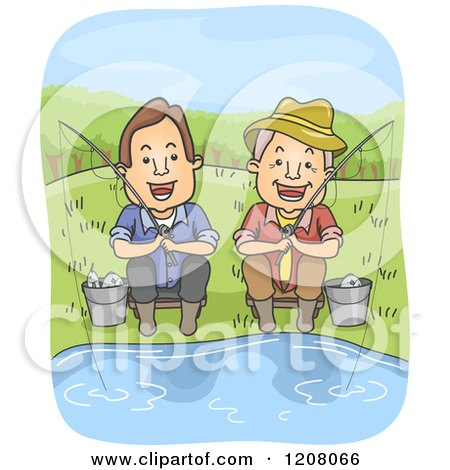 Cartoon of a Happy Middled Aged Man and Senior Father Fishing - Royalty Free Vector Clipart by BNP Design Studio